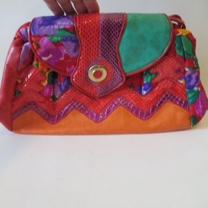 VINTAGE SHARIF PATCHWORK MULTI COLOR LEATHER CROSS